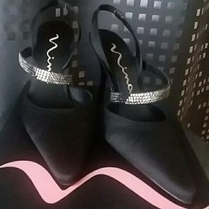 Nina Black Leather Dress Shoes 6M